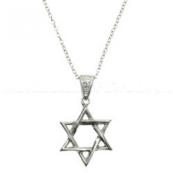 Star of David Patterned Silver Pendant
