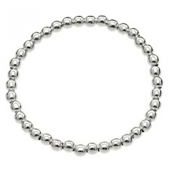 Stretch Silver Ball Bracelet - 5mm Wide
