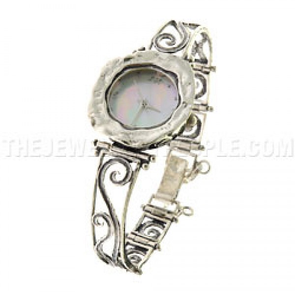 Scrolled Silver Watch