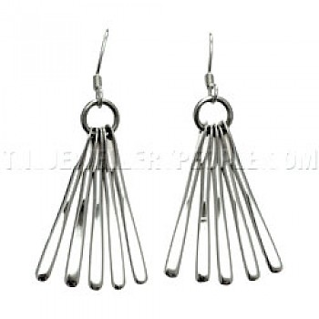 Tassel Spray Silver Drop Earrings - 58mm Long