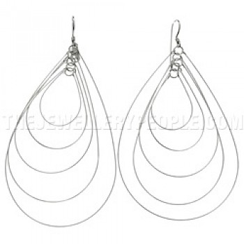 Teardrop Loops Silver Earrings - 80mm Long