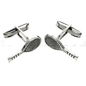Tennis Rackets Silver Cufflinks