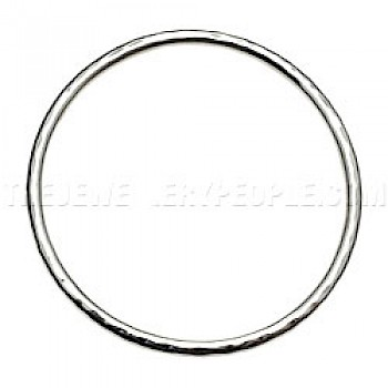 Thick-Tubed Hammered Silver Bangle - 3mm