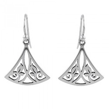 Triangle Vines Silver Earrings