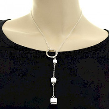 Triple Cubes Silver Lariat Necklace