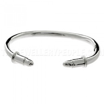 Tube Bullet Silver Bangle - 5mm Wide