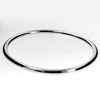 Tubed Oval Silver Bangle - 4mm