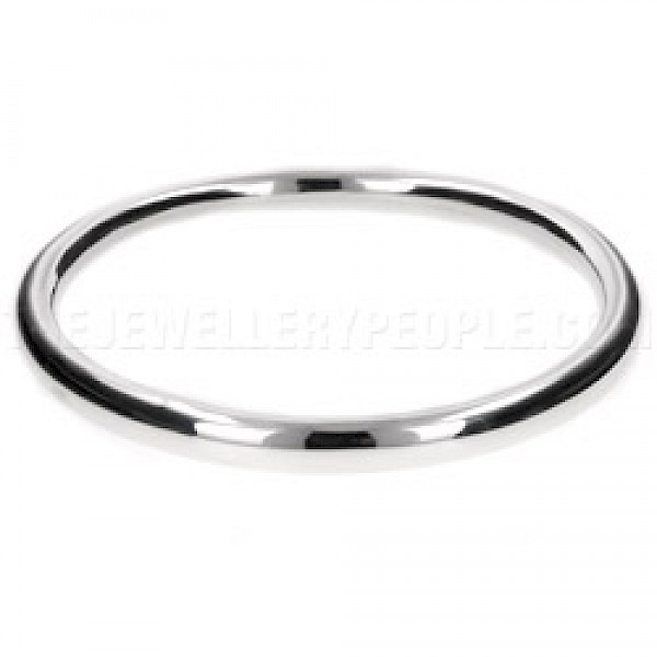 Thick-Tubed Round Silver Bangle - 5mm Wide