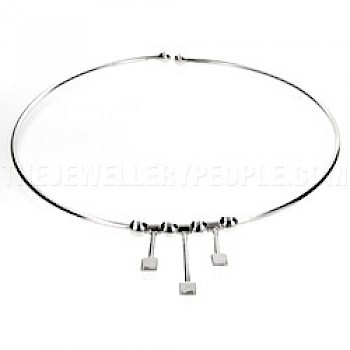 Tubed Silver Collar with Triple Barbell Detail