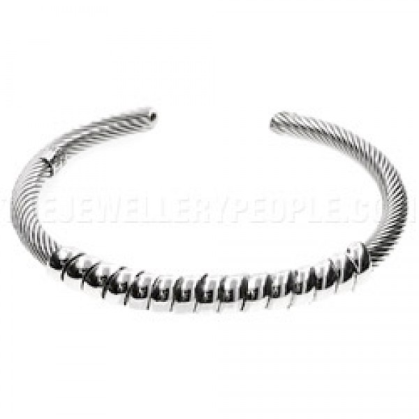 Twisted Detail Flexible Wire Silver Bangle - 7mm Wide