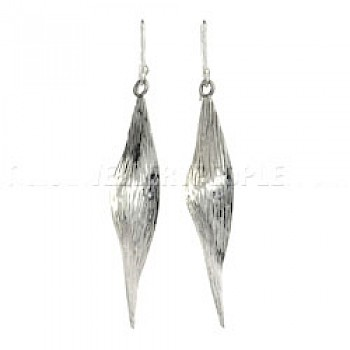 Twisted Ripple Silver Earrings - 50mm Long