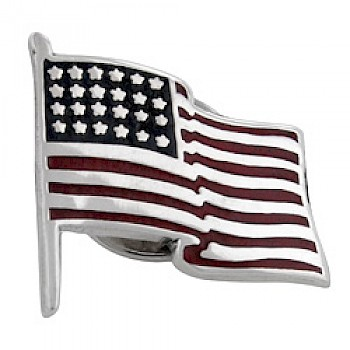 USA Flag Silver Brooch-Small
