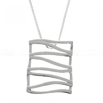 Wave Fence Silver Pendant