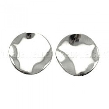 Wavy Disc Silver Clip-On Earrings - 18mm