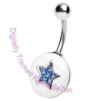 White & Blue Star Crystal Belly Bar