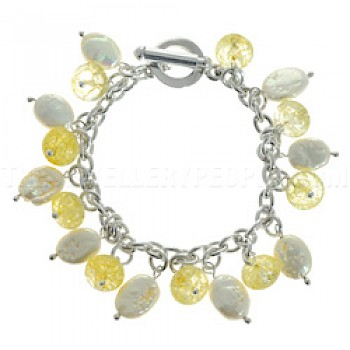 White Pearlised Shell & Yellow Glass Bead Silver Bracelet