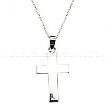 Wide Polished Silver Cross Pendant
