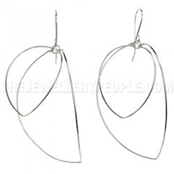 Wire Petals Silver Earrings - 50mm Long