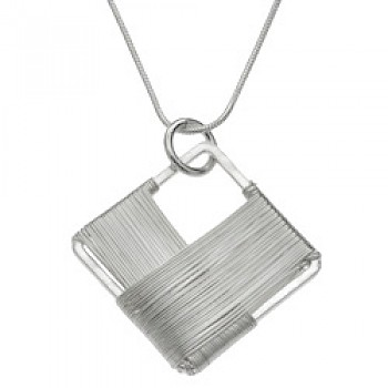 Wire Wrapped Diamond Silver Pendant - Large