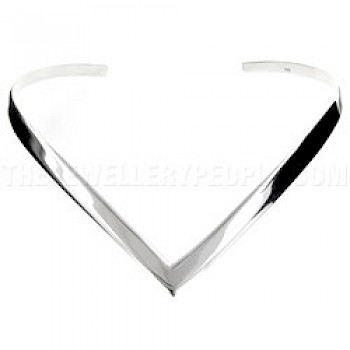 Wishbone Silver Collar - 8mm Wide