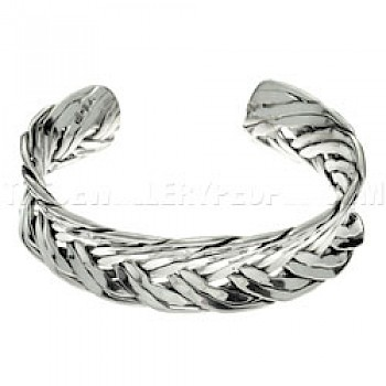 Woven Concave Open Silver Bangle - 17mm Wide