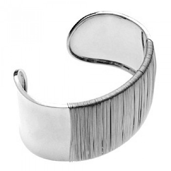 Woven Grip Silver Cuff Bangle - 35mm Wide
