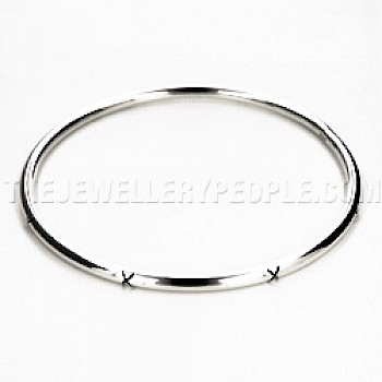 X Detailed Tube Round Silver Bangle