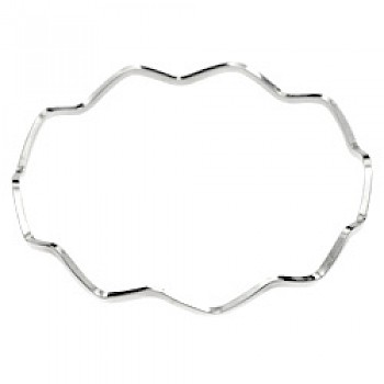 Zig-Zag Silver Bangle - 2mm Solid