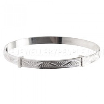 Zig Zag Spirals Silver Bangle - Childs
