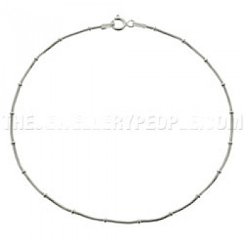 Ring Snake Chain Silver Anklet