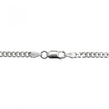 "3mm Silver Heavy Curb Chain Necklace  - 18"" Long"