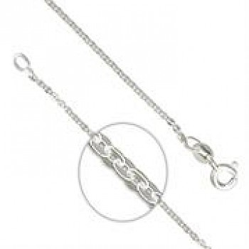 "1mm Oval Links Sterling Silver Necklace - 16"" Long"
