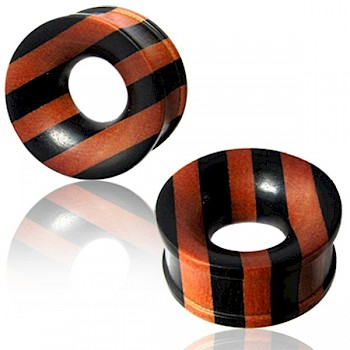 ARANG & SAWO WOOD STRIPE FLESH TUNNEL - WIDE GAUGES