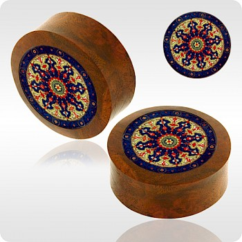BLOOD WOOD FLESH PLUG WITH ALUMINIUM ICON INLAY