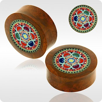 BLOOD WOOD FLESH PLUG WITH ALUMINIUM ICON INLAY - BYZANTINE BRIGHT