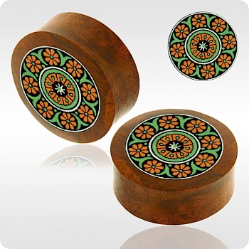 BLOOD WOOD FLESH PLUG WITH ALUMINIUM ICON INLAY - BYZANTINE GREEN