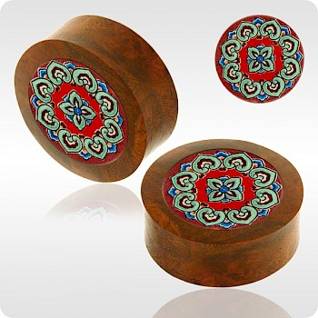BLOOD WOOD FLESH PLUG WITH ALUMINIUM ICON INLAY - BYZANTINE PETALS