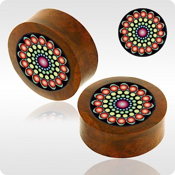 BLOOD WOOD FLESH PLUG WITH ALUMINIUM ICON INLAY - BYZANTINE SIMPLE