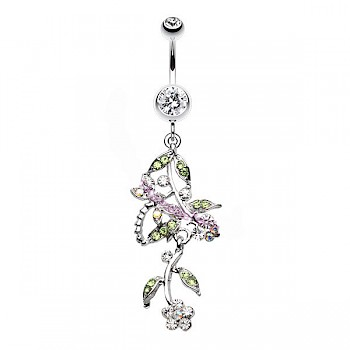 PRETTY VINE DANGLE BELLY BAR - CLEAR