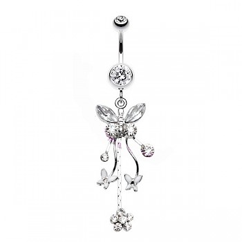 PRETTY BUTTERFLY DANGLE BELLY BAR - CRYSTAL CLEAR