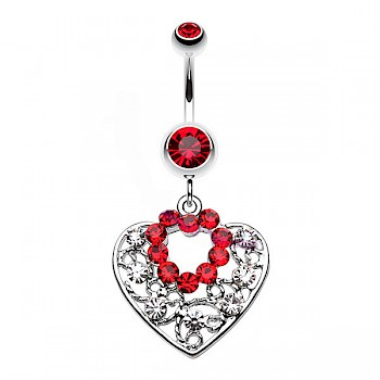 SPARKLING HEART DANGLE BELLY BAR - RED