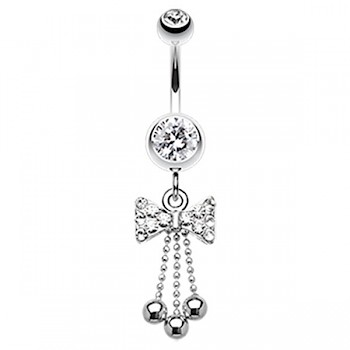 BOW TIE DANGLY BELLY BAR - CLEAR