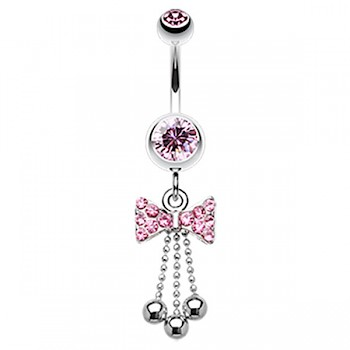 BOW TIE DANGLY BELLY BAR - PINK