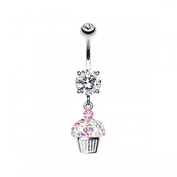 CUTE CUPCAKE DANGLE BELLY BAR - CLEAR