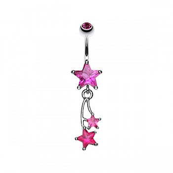 SHOOTING STAR DANGLE BELLY BAR - FUSHIA