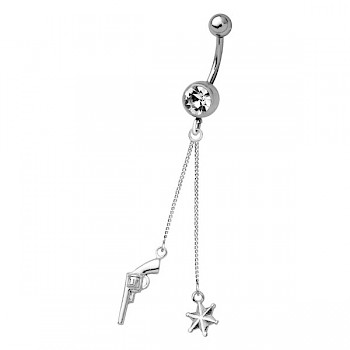 SHERRIFF BADGE SILVER DANGLE NAVEL BANANABELL