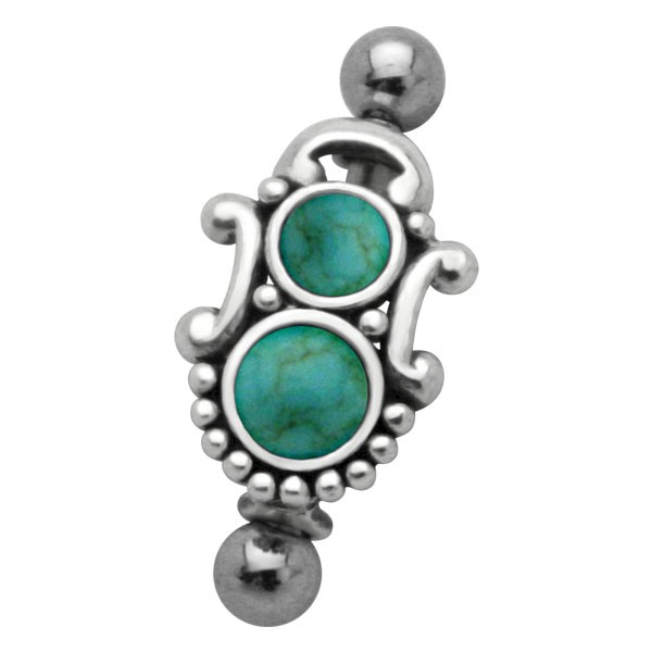 TURQUOISE & SILVER EYEBROW BAR & SHIELD