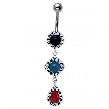 BYZANTIUM DANGLE SILVER BELLY BAR