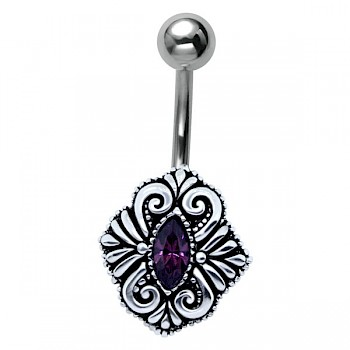 ELEGANT BYZANTIUM SHIELD SILVER BELLY BAR