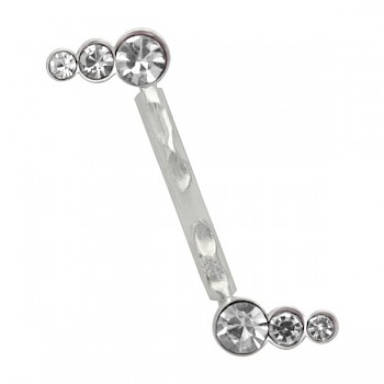 SILVER & BIOPLAST JEWELLED INVISIBLE EYEBROW BAR - CLEAR